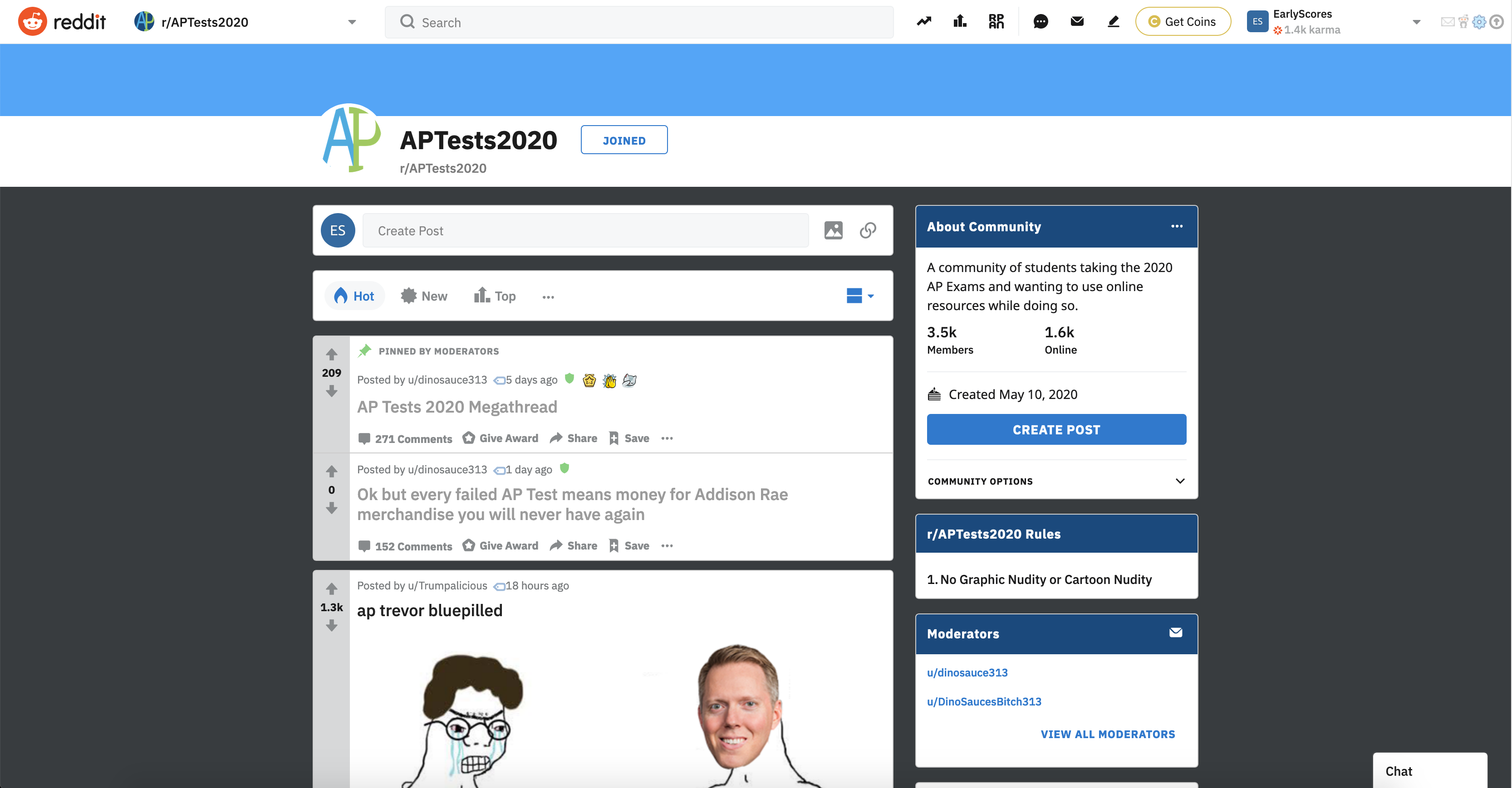 The APTests2020 Subreddit, pictured on May15th.